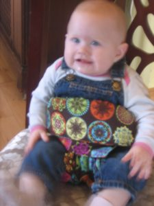 cloth high chair in use